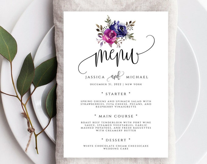 Blue & Purple Wedding Menu Template, Printable Floral Menu, Editable Rustic Wedding Menu Template, Menu Card, Instant Download, Templett, F9