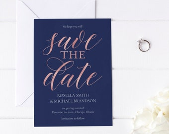 Modern Save the Date Template, Navy, Rose Gold, Calligraphy, Simple, Minimalist, Editable, Printable, Instant Download, Templett, N1