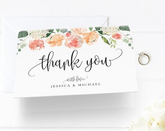 Thank You Card Template, Printable Peach Florals Wedding / Bridal Shower Folded Note Card, INSTANT DOWNLOAD, Editable Text, DIY Template, F1