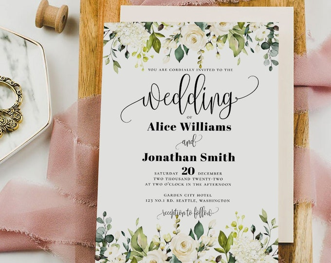 Wedding Invitation Template, White Greenery Floral , Printable Wedding Invitation Template, Editable Text, Instant Download, Templett, F7