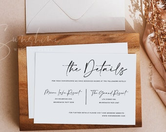Modern Wedding Details Card Template, Printable Accommodations Card, Editable Information Card, Minimalist, Instant Download, Templett, M3