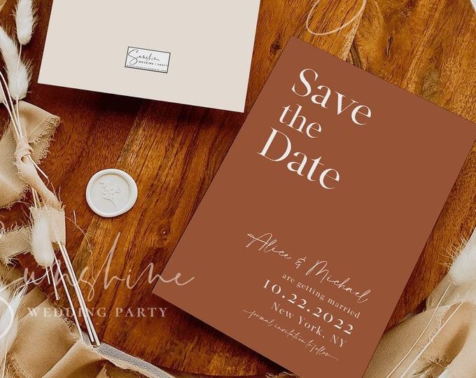 Terracotta Save the Date Template, Printable Burnt Orange Save the Date, Modern Wedding, Minimalist Boho Rustic, Instant, Templett, T1