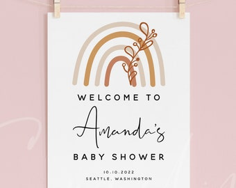Rainbow Baby Shower Welcome Sign Template, Bohemian Rainbow Baby Shower Welcome Sign, Baby Shower Welcome Board, Instant Download, B1
