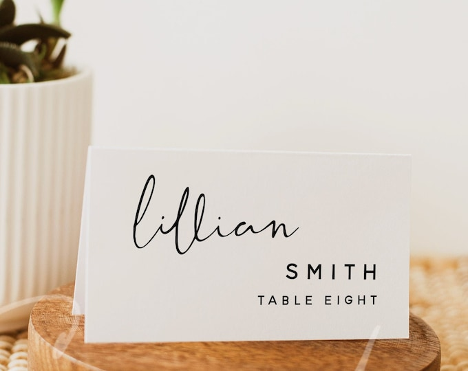 Wedding Place Cards Template, Flat Place Card Template, Tent Fold Place Card Template, Printable Place Cards, Instant Download, Templett, M8