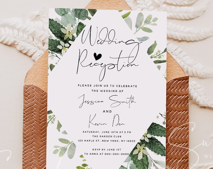 Eucalyptus Greenery Wedding Reception Invitation Photo, Boho Invitation Template, Elopement Announcement Invitations, Editable Invites, G3
