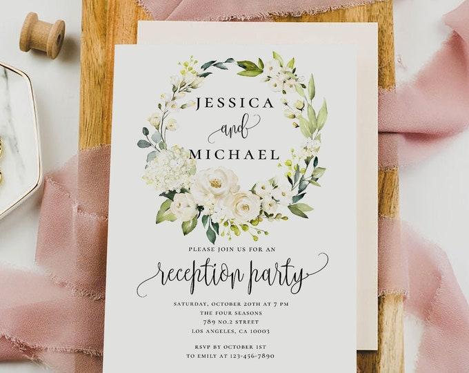 Wedding Reception Invitation Template, White Floral Marsala, Printable Wedding Reception, Greenery Wedding, Instant Download, Templett, F7