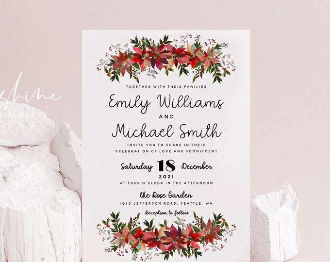 Christmas Wedding Invitation Template, Winter Wedding Invitation Template, Printable Invitation, Editable Template Instant Download Templett