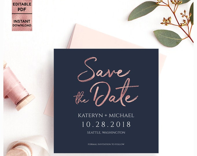 Navy Blue Rose Gold Save The Date PDF Template Printable Handwritten Font Wedding Save the Date 5x5 Template Editable PDF Digital Download