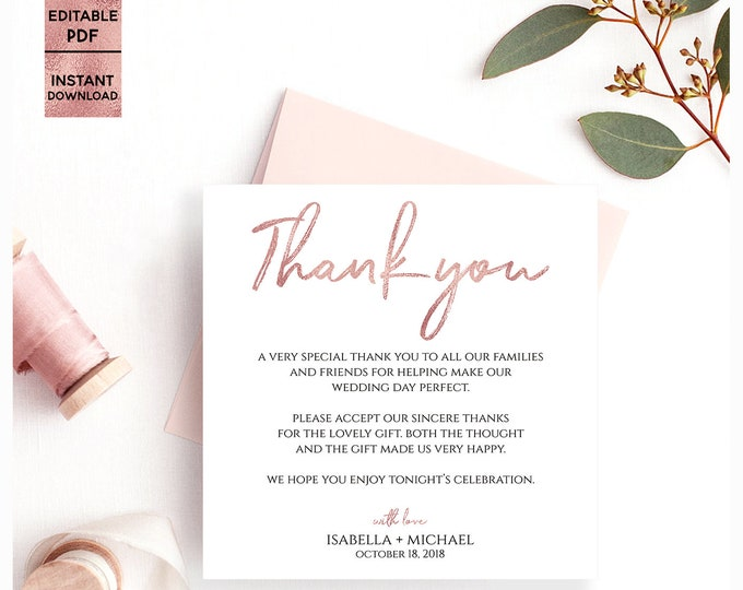 Rose Gold Thank You Card Template 5x5 Printable Handwritten Font Wedding Thank You Card Template Editable PDF file PDF Digital Download