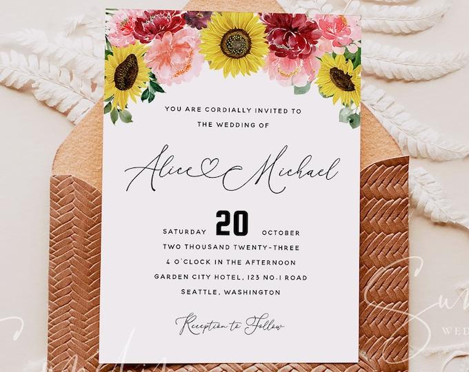 Sunflower Burgundy Wedding Invitation Template, Printable Floral Wedding Invitation Template, Editable Wedding Template Templett Instant F12