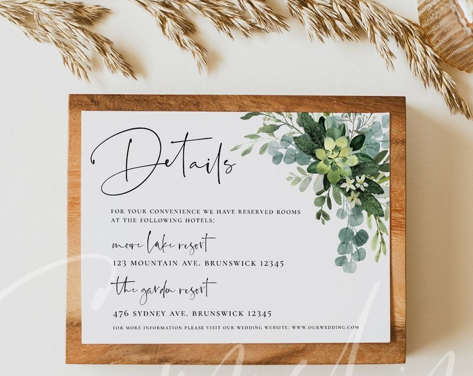 Greenery Wedding Details Card Eucalyptus Greenery Accommodations Card Template Printable Greenery Details Cards Instant Download Templett G3
