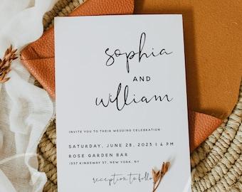 Modern Wedding Invitation Template, Minimalist Wedding Invitation Template, Printable Wedding Invitation, Instant Download, Templett, M8