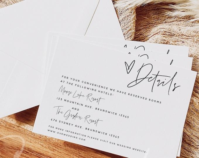 Modern Wedding Details Card Template, Minimalist Wedding Accommodations Card Template, Wedding Details Card, Instant Download, Templett, M7