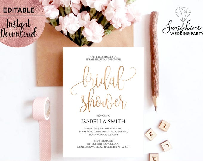 Gold Foil Script Font Bridal Shower Invitation Template Printable White 5x7 Bridal Shower Invitation Editable PDF file Digital Download