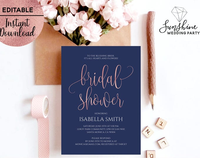Navy Blue Rose Gold Foil Bridal Shower Invitation Template Printable 5x7 Script Font Invitation Template Editable PDF Digital Download