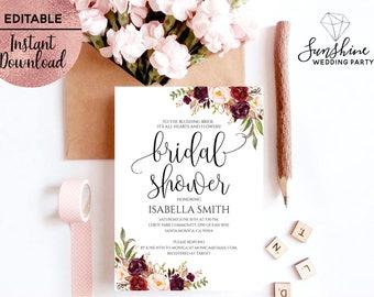 Floral Bridal Shower Invitation Template Printable 5x7 Script Font Bridal Shower Invitation Template Editable PDF file Digital Download