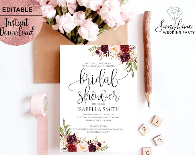 Floral Bridal Shower Invitation Template Printable 5x7 Script Font Bridal Shower Invitation Template Editable PDF file Digital Download