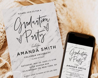 Graduation Party Invitation Template, Marble Graduation Party Invite, Modern Digital Graduation Announcement Invite, Graduation Party, GRA