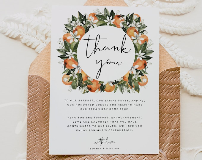 Thank You Cards Template, Citrus Wedding Thank You Notes Template, Orange Thank You Letter, Editable Template, Instant Download, Templett C2