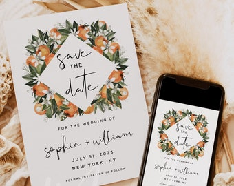 Save the Date Template, Citrus Orange Wedding Save the Date Card, Electronic Save the Date Template, Save the Date, Instant Download, C2
