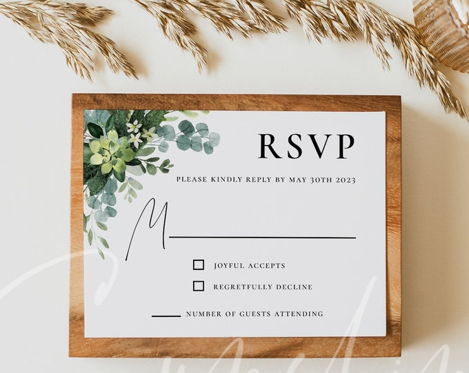 Greenery Wedding RSVP Cards, Eucalyptus Greenery Wedding RSVP Template, Printable Greenery Kindly Reply Cards, Instant Download, Templett G3