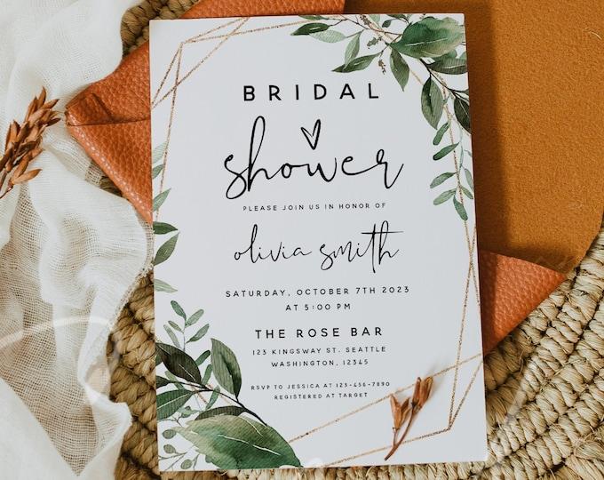 Bridal Shower Invitation Template, Greenery Bridal Shower Invite Template, Printable Bridal Shower Invitation, Instant Download, Templett G5