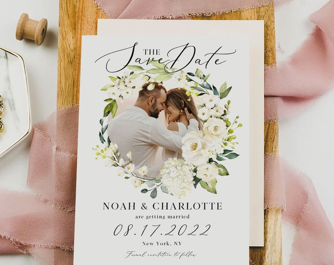 Photo Save the Date Template, White Floral Wedding, Engagement Photo Save the Date, DIY Printable, Editable DIY, Save the Date Template, F7