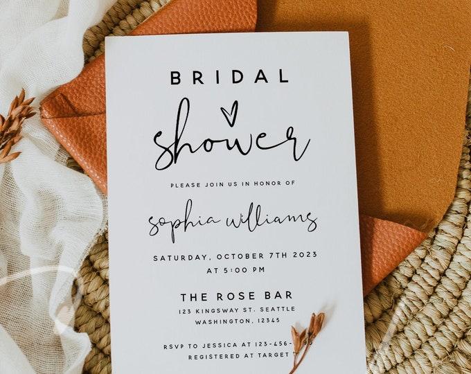 Bridal Shower Invitation Template, Modern Minimalist Bridal Shower Invite, Printable Bridal Shower Invitation, Instant Download, Templett M8