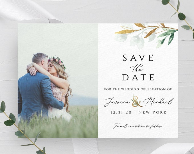 Photo save the date template DIY save the date Save the date photo template Wedding announcement cards Photo save the date printable card G1