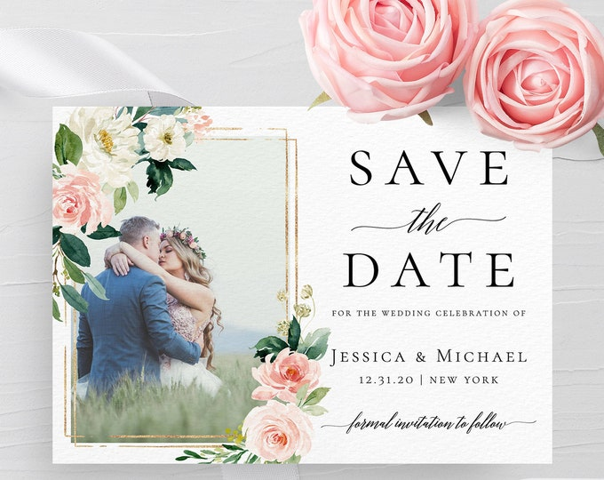 Photo save the date template DIY save the date Save the date photo template Wedding announcement cards Photo save the date printable card F5