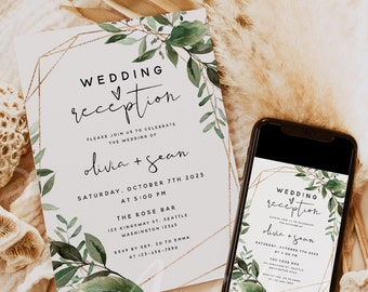 Wedding Reception Invitation Template, Greenery Reception Invitation Card, Elopement Announcement Invitation, Instant Download, Templett, G5