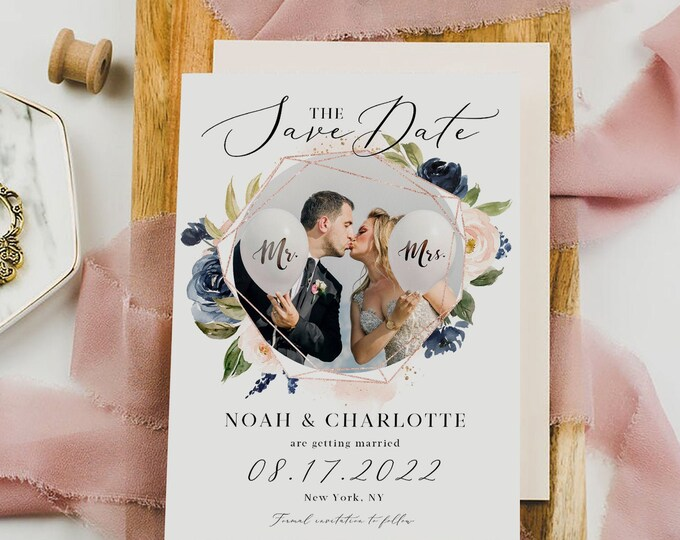 Photo Save the Date Template, Navy Blush Wedding, Engagement Photo Save the Date, DIY Printable, Editable DIY, Save the Date Template, F6