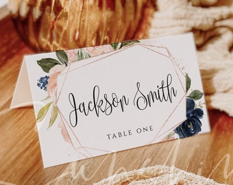 Wedding Place Card Template, Wedding Name Card Template, Navy Blush Florals, 100% Editable Text, Printable, Instant Download, Templett, F6