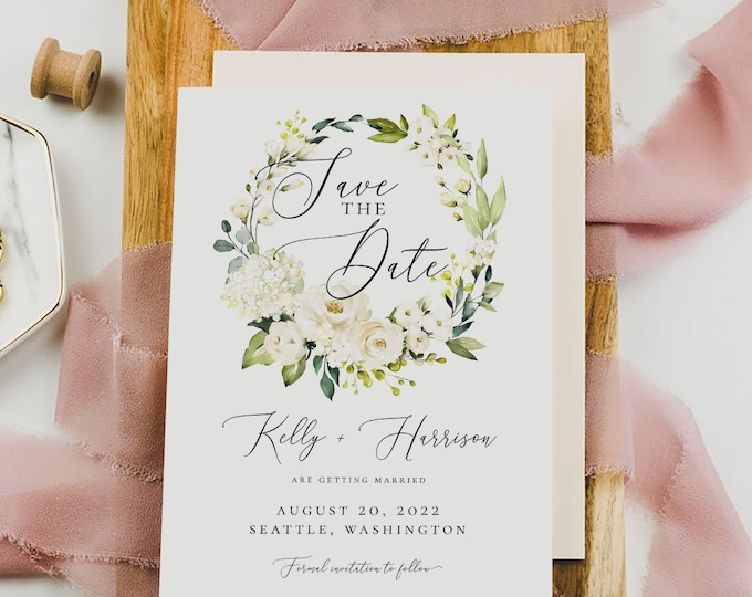 Editable Save the Date Template, White Floral Greenery Wedding Save the Date, Printable Save the Date Template, Instant Download Templett F7