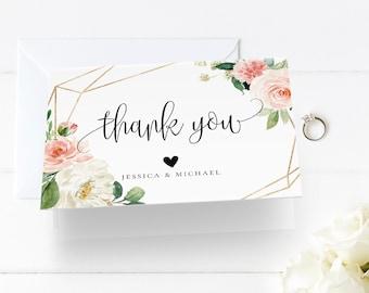 Wedding Thank You Card Template, INSTANT DOWNLOAD, 100% Editable Text, Printable, Blush floral, Boho Wedding, Folded Card, DIY, Templett, F5