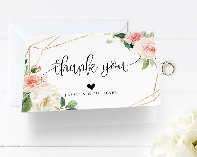Wedding Thank You Card Template, INSTANT DOWNLOAD, 100% Editable Text, Printable, Blush floral, Boho Wedding, Folded Card, DIY, Templett, F5