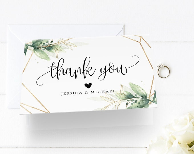 Thank You Note Card Template, Printable Greenery & Gold Wedding / Bridal Shower Folded Card, INSTANT DOWNLOAD, Editable Text, Templett, G1