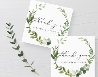 Greenery Wedding Tag Template, Eucalyptus, Printable Tag, Wedding Favor Tag, Editable Text, Thank You Tag, Instant Download, Templett, G3