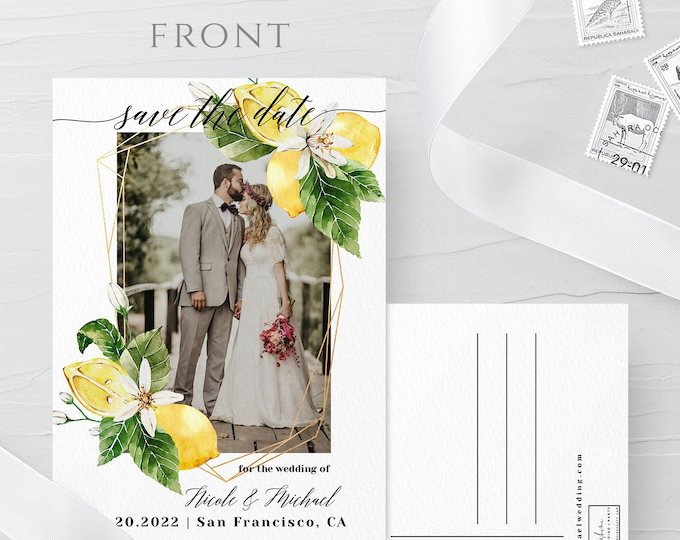 Photo Postcard Save the Date Template, Rustic Lemon Wedding, Photo Save the Date, DIY Printable, Editable Save the Date Picture Template, L1