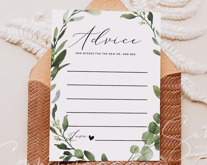 Eucalyptus Greenery Wedding Advice Card Template, Printable Wedding Advice for the Bride & Groom, Editable, Instant Download, Templett, G3