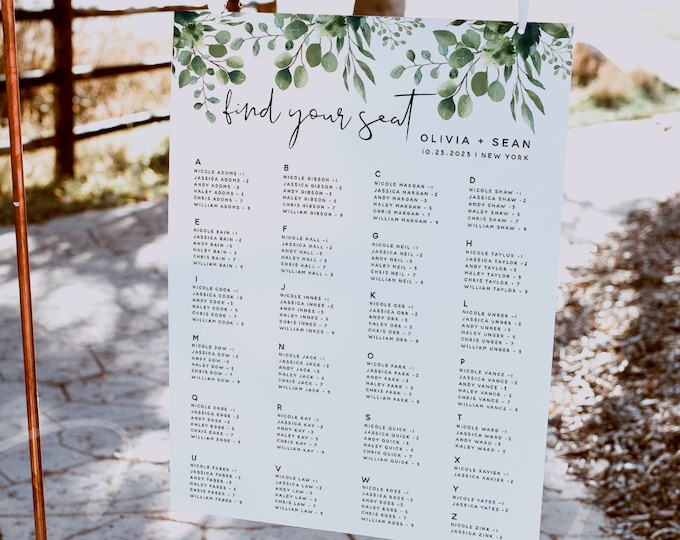 Greenery Alphabetical Seating Chart Wedding Template, Seating Chart Sign, Seating Chart Board, Seating Chart Cards, Instant Download, G5