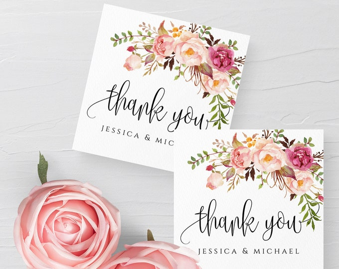 Marsala Wedding Thank You Tag Template, Floral Wedding Favor Tag, Printable Wedding Tag, 100% Editable Text, Instant Download, Templett, F4