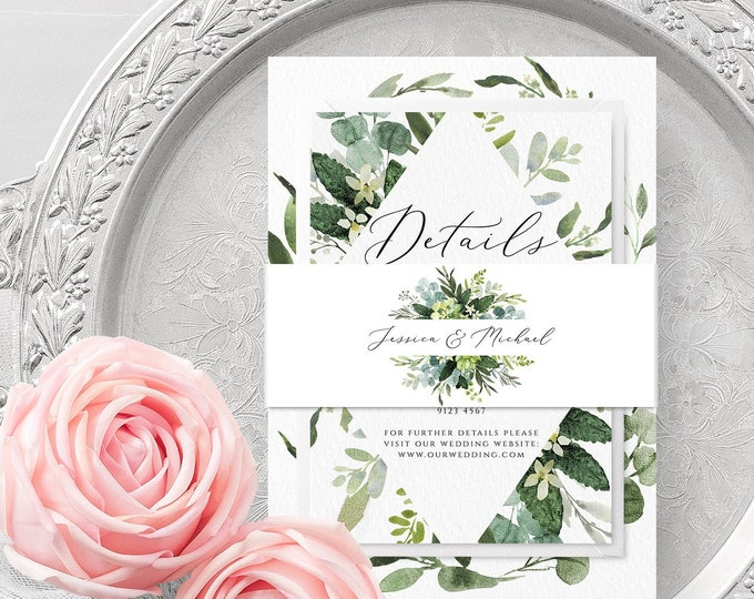 Greenery Wedding Belly Band Template, Printable, Editable, Eucalyptus Belly Band Template, Wedding Bellyband, Instant Download, Templett, G3