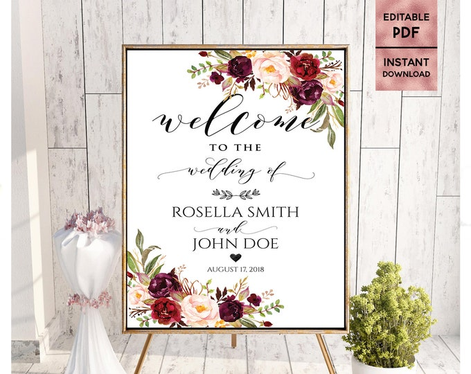 Floral Wedding Welcome Sign Template Printable 24x36 18x24 16x20 8x10 Script Font Sign Welcome Sign Editable PDF Instant Digital Download
