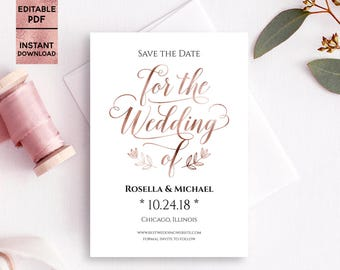 Rose Gold Foil Save the Date Card Template Printable 5x7 Save the Date with Script Font DIY Template Editable PDF File Digital Download