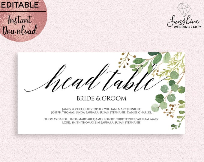 Green Leaves Wedding Head Table Sign Template Printable 5x7 Wedding Head Table Sign with Names Editable PDF file Digital Download