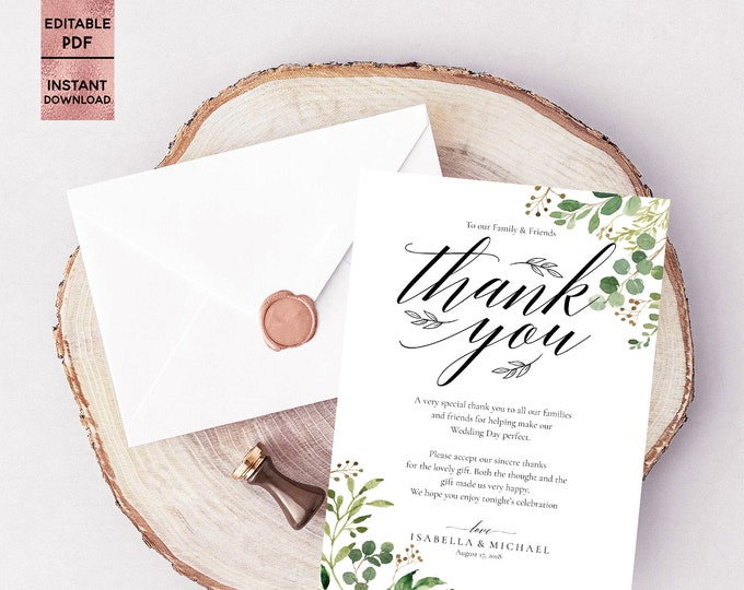 Green Leaves Wedding Thank You Card Template Green Leaf Printable 5x7 Thank You Note Editable Thank You Pad PDF File Digital Download