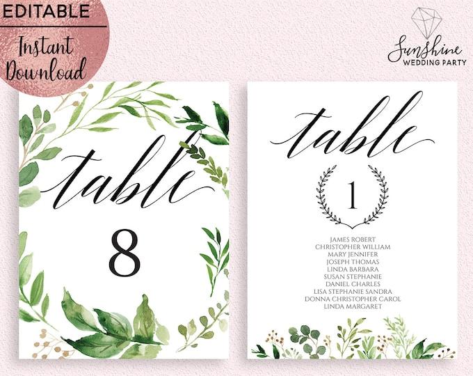 Green Leaves Wedding Table Number Sign Template Printable 5x7 Wedding Guest Names Table Sign Template Editable PDF file Digital Download