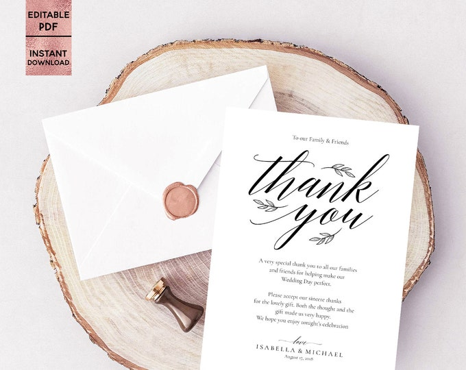 Wedding Thank You Card Template Printable 5x7 Ceremony Thank You Note Editable Thank You Pad PDF File Instant Download Digital Download