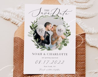 Photo Save the Date Template, Eucalyptus Greenery Wedding, Engagement Photo Save the Date, DIY Printable, Editable DIY, Instant Download, G3